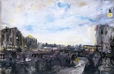 Jack B. Yeats RHA Lingering Sun, O'Connell Bridge, Dublin Oil on canvas, x x Previously on sale at Adam's. Aberdeen Art Gallery, Irish Painters, Jack B, John Huston, Tate Gallery, Walker Art, Flamboyant, Irish Art, Contemporary Artists