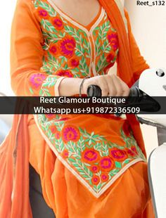 Dashing Orange Embroidered Punjabi Suit Product Code : Reet_s132 To order, call/whatsapp on +919872336509 It will make you noticable in special gathering. Buy Link : https://www.facebook.com/reetglamourboutique/ We offer huge variety of Punjabi Suits, Anarkali Suits, Lehenga Choli, Bridal Suits,Saree, Gowns,etc.We Can also Design any Suit of your Own Design and any Color Combination
