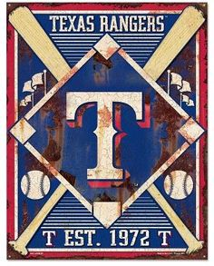 MLB Texas Rangers Metal Sign Texas Rangers Logo, Metal Signs, Logos, Metal Panels, Logo