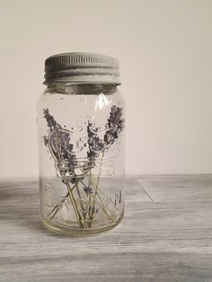 Vintage Mason Jar with Lavender Wedding Decor Photo Prop. $15.00, via Etsy.