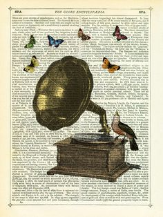 Gramophone, Bird and Butterflies Art Print by Marion McConaghie ...