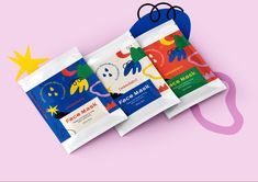 Bright, Bold Packaging Design. Abstract, Graphic Elements