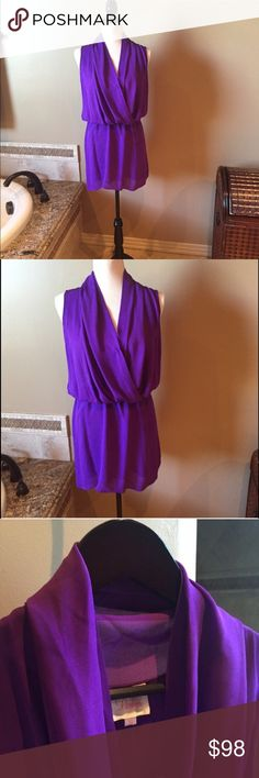 Silk dress by Parker 100% Silk dress by Parker. Color is Purple, Front closure. Wore once for an hour and in perfect condition. Parker Dresses
