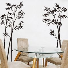 ORDERIN Christmas Gift Wall Decal Hot Sale Ink and Wash Painting Black Bamboo Tree Birds Removable Mural Wall Stickers for Television Background Decoration Home Decor *** More info could be found at the image url.