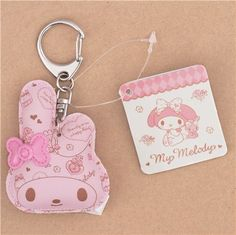 light pink puffy My Melody with bow charm cellphone bag clasp 2