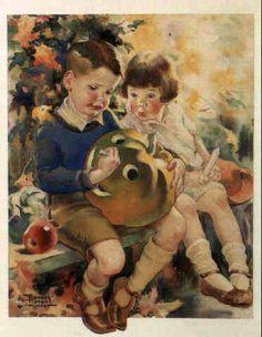 Two Children Carving Pumpkin - Frances Tipton Hunter (1896 – 1957, American)