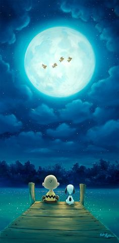 Peanuts and Snoopy making a wish on the beautiful Blue Moon.