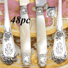 Elegant antique French Belle Epoque era sterling silver 48pc entremet or dessert sized flatware set, a 4pc table setting for twelve with ornate floral