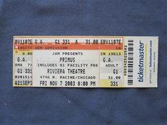 Primus, Riviera Theatre, 11/7/2003, 31.00