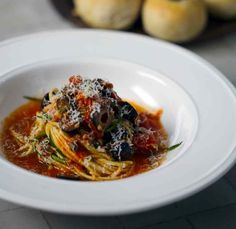 Speedy courgette linguine with focaccia buns