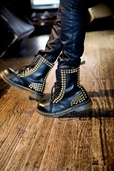 In boots ;) I have an unhealthy addiction to wearing my combat boots and motorcycle boots & Dr. Martens, Angel Haze, Studded Combat Boots, Rock Style, My Style, Gothic Shoes, Motorcycle Boots, Cool Boots, Casual Boots