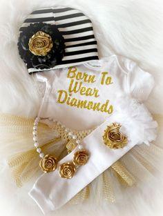 Born To Wear Diamonds Gold Infant Glitter Onsie