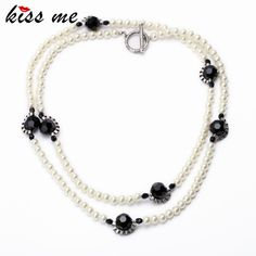 Fashion Necklaces for Women New Item Beads Chain Simulated Pearls Long Necklace Jewelry