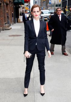 Emma Watson wears a full Saint Laurent suit // #Style #Celebrity #Fashion