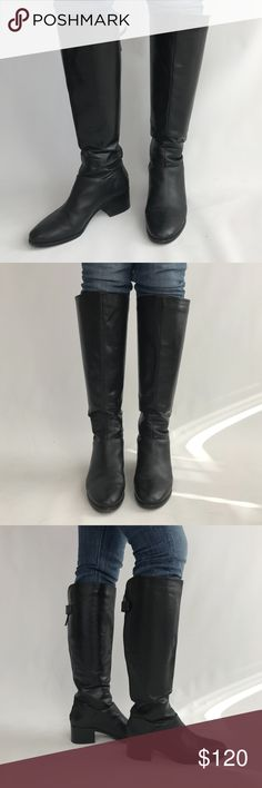 Pour la Victoire leather knee-high boots Pour la Victoire black leather knee-high boots with zipper and snap button back closure. Boots are worn in with some scuffs and creases in leather from wear. Boot shaft is approx. 17 inches. Model is 5'8. Heel is approx. 2 inches high. Pour La Victoire Shoes Heeled Boots