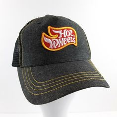 6051a1c18afa8 Hot Wheels Mesh Snap Back Trucker Hat Gray Black Ace   Eights  AcesEights   TruckerHat