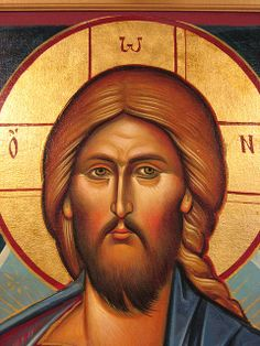 This is a detail from an icon in the fellowship hall of Christ the Saviour Orthodox Church in Paramus, NJ written by a Ukrainian iconographer from Odessa. Religious Images, Religious Icons, Religious Art, Byzantine Icons, Byzantine Art, Jesus Face, Russian Icons, Catholic Saints, Art Icon