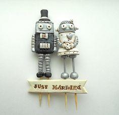 Wedding Cake Topper Black and White Robots por cortneyrectorwedding