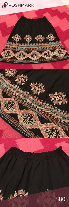 """NWT Johnny Was embroidered skirt M NWT Johnny Was embroidered skirt. Size medium. Never worn. In great condition. Super cute!! 17.5"""" length. Waist can stretch to 17"""" Johnny Was Skirts"""