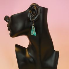 Treat yourself to these unique original Teal Fabric Shimmer Tri Earrings with Beads #earrings #dangleearrings