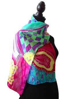 Batik Zentangle Silk Scarf Size 11x60in  27.94x152.4cm by SilkMari, $62.00