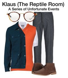 """""""Klaus Baudelaire - A Series of Unfortunate Events - The Reptile Room"""" by starrydancer ❤ liked on Polyvore featuring Maison Margiela, Stone Rose, Air Jumper by Scaglione, Ray-Ban, Levi's, Nunn Bush, men's fashion and menswear"""