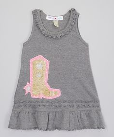Look what I found on #zulily! mini scraps Charcoal & Gold Boot Ruffle Tank Dress - Infant, Toddler & Girls by mini scraps #zulilyfinds