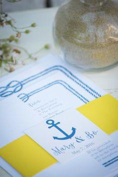 blue and yellow wedding, beach wedding, wedding invitations, wedding ideas