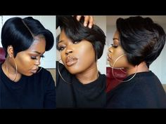DIY| 27 Piece & A Lace Frontal Tapered Bob Wig [Video]  Read the article here - http://blackhairinformation.com/video-gallery/diy-27-piece-lace-frontal-tapered-bob-wig-video/ Tapered Bob, Box Braids Hairstyles For Black Women, Short Wigs, Hoop Earrings, Earrings