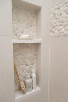 Pebble Tile Bathroom Shower Walls From white Carrara marble to black sliced pebble stones and beyond, discover the top 70 best bathroom shower tile ideas. Bad Inspiration, Bathroom Inspiration, Bath Remodel, Tub To Shower Remodel, Beautiful Bathrooms, Small Bathrooms, Narrow Bathroom, Dream Bathrooms, Small Master Bathroom Ideas
