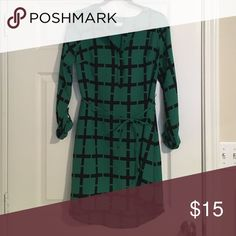 Green and Black Dress Business casual - perfect for teachers! Never been worn. Merona Dresses Long Sleeve