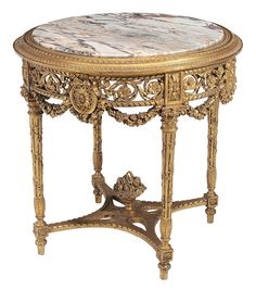 Marble-Inset Center century, variegated circular marble top with carved and gilt surround, elaborate pierce. on Nov 2015 Wicker Furniture, Fine Furniture, Shabby Chic Furniture, Luxury Furniture, Furniture Ideas, Furniture Design, Antique French Furniture, Classic Furniture, Louis Xvi