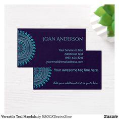 versatile teal mandala business card - Zazzle Business Cards