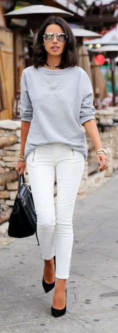 Daily New Fashion : T-Shirt Egberta with Skinny Ankle Zip Cord Jeans - VivaLuxury