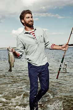 'I used my manly beard to scare the fish out of the water! I didn't even need a fishing pole!'