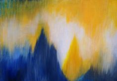 abstract navy blue and yellow painting - Google Search