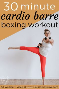 Cardio Barre Boxing Workout – full body workout under 30 minutes. Pair traditi… Cardio Barre Boxing Workout – full body workout under 30 minutes. Pair traditional barre/ballet movements and boxing cardio intervals with core movements. Upper body and lower Cardio Training, Mental Training, Strength Training, Training Plan, Shred Workout, Workout Bodyweight, Kickboxing Workout, Workout Fitness, Fitness Diet