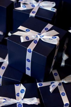Personalised ribbon for the Perley-Robertson anniversary party made a big impression on a classic blue box.