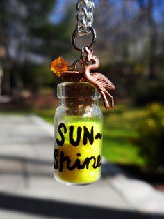 Glass Vial Bottle Necklace Sunshine Summer Sun by CharmedByMlem, $13.00
