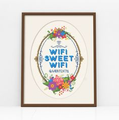 We love WiFi, but hate how we always forget the password when guests come over. Thats why we came up with this customisable pattern, which lets you include your own wifi password, in a cute and kitsch way so you need never forget it again!    The pattern comes complete with full upper and lower case alphabet and icon set, for even the most bonkers of passwords!    The design measures: 101 sitches wide x 137 stitches high    Finished stitched area:  14 ct aida - 7¼x 10 (18cm x 25cm)  16 ct…