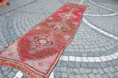Hallway vintage faded rug. Turkish carpet. Handmade wool carpet. Free shipping. 9.2 x 2.4 feet. (2.82 x 0.76 cm)