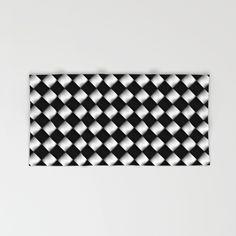 Black and White 1 Hand & Bath Towel #towel #bathroom #black #white #pattern #square #hand #bath #beach #patchwork #geometric #home