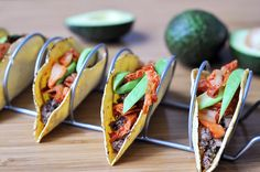 kimchi beef tacos. Agave Nectar, Kimchi, Quinoa, Smoothies, Beverages, Tacos, Spices, Beef, Ethnic Recipes