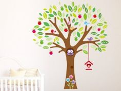 Wall Decals - YYone Owl Big Tree Cartoon Animal Wall Sticker Removable for Girls and Boys Nursery Baby Room
