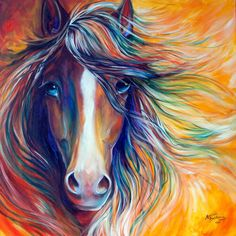 M BALDWIN ORIGINAL oil Painting WILD HORSE MUSTANG ABSTRACT by MARCIA BALDWIN #Abstract