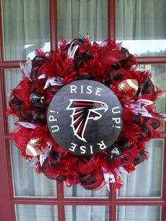 Atlanta Falcon Football Red and Black Deco Mesh Door Wreath Football Crafts, Football Wreath, Football Rooms, Football Stuff, Deco Mesh Wreaths, Door Wreaths, Flower Wreaths, Falcons Rise Up, Falcons Football