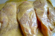 Baked Chicken: 4 boneless, skinless chicken breasts 1/2 cup Dijon mustard 1/4 cup maple syrup 1 tablespoon red wine vinegar Salt & pepper Rosemary (add at end)