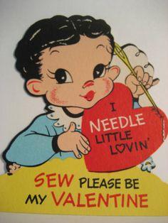 Vintage Valentine Card Seamstress Needle Little Lovin' Sew Please Be Mine Unused | eBay