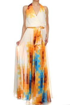Abstract Print Wrapped Halter Maxi Dress