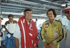 Bobby Allison and Dale Earnhardt chat before the 1980 NASCAR...